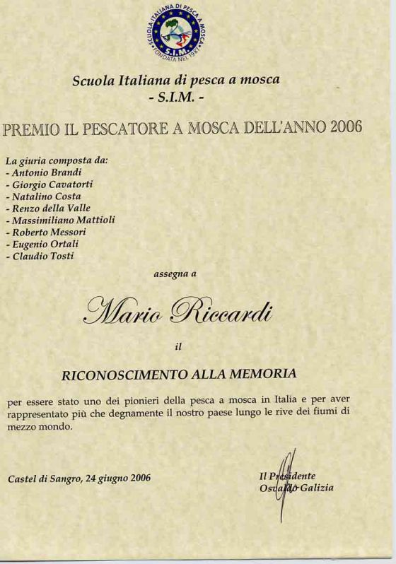 Riconoscimento alla Memoria di Riccardi