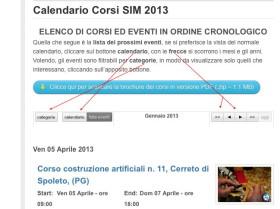 dettaglio del calendario eventi, i bottoni di navigazione